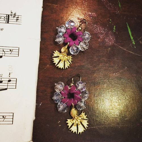 Gold Flower earrings - Gold brass flower on purple leathered crystals