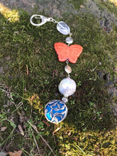 Load image into Gallery viewer, Butterfly on blue silver Flower Pendant keychain zipper charm