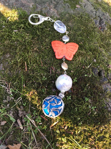 Butterfly on blue silver Flower Pendant keychain zipper charm