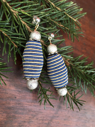 Blue Stripes Silver Earrings - Blue White Silky Stripes with Silver Beads earrings.