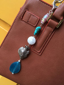 Silver Fish Jasper nugget Seaside Keychain Handbag Zipper charm