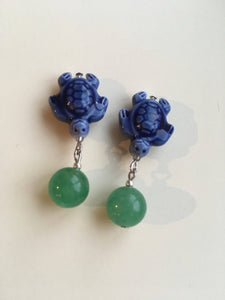 Turtle Luck earrings - multi colored ceramic sea turtles with freshwater pearls
