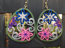 Load image into Gallery viewer, Hand painted Green Silver Flower wreath -  hand painted enamel on wood earrings