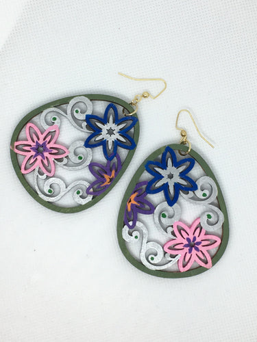 Hand painted Green Silver Flower wreath -  hand painted enamel on wood earrings