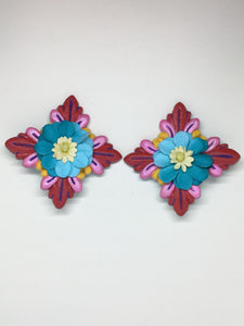 Hand painted red wood Hibiscus blue paper flower