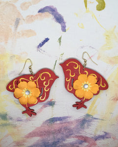 Hand painted wood Red Chick with Yellow Flower earrings