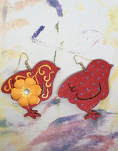 Load image into Gallery viewer, Hand painted wood Red Chick with Yellow Flower earrings