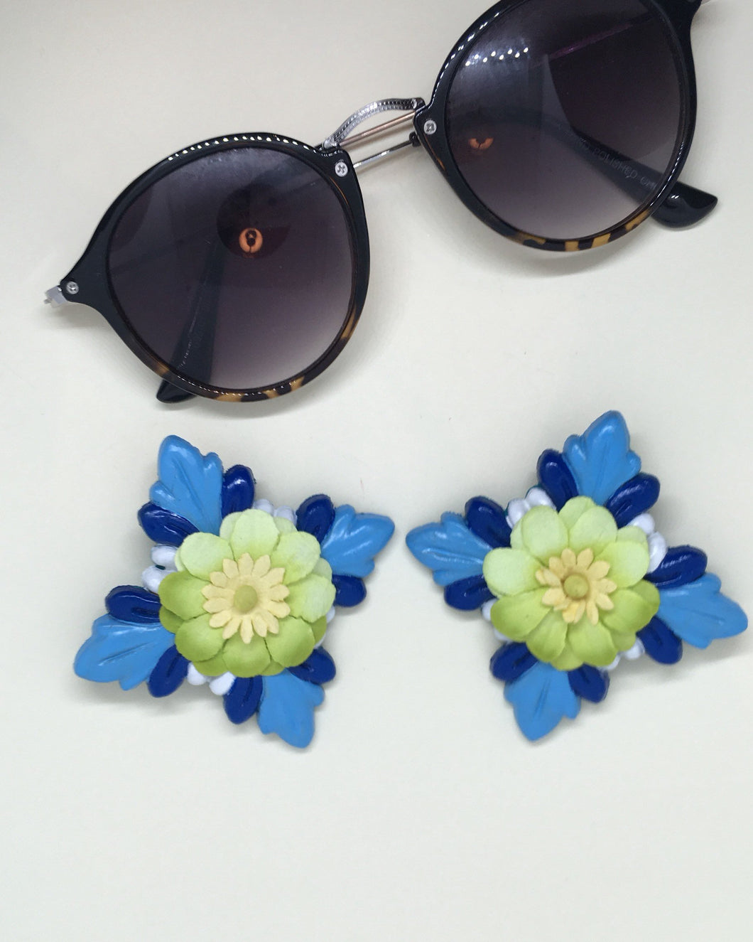 Hand painted blue wood Hibiscus with green paper flower earring clip