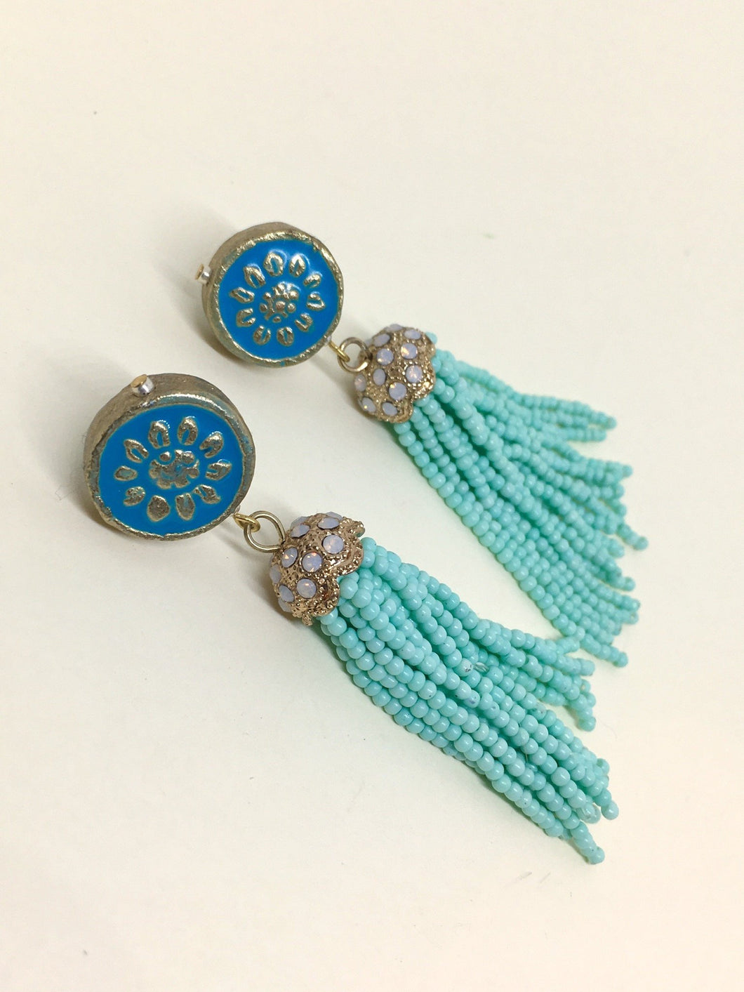 Sea flower - Strung beats on round  enameled mosaic ceramic bead earring.
