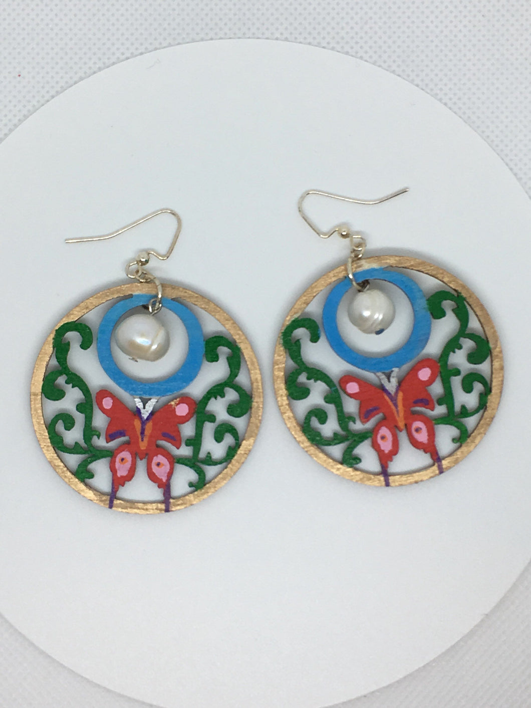 Hand painted Butterfly Pearl - hand painted wood earrings with freshwater pearl above