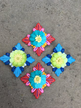 Load image into Gallery viewer, Hand painted blue wood Hibiscus with green paper flower earring clip