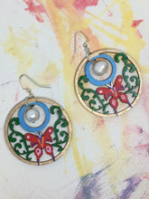 Load image into Gallery viewer, Hand painted Butterfly Pearl - hand painted wood earrings with freshwater pearl above