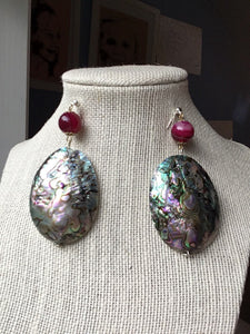 Large rose green Abalone Haliotis on red quartz bead on silver stud earrings