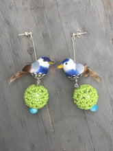 Load image into Gallery viewer, Blue Finch above a silver green globe, blue quartzite stone on silver stud earring.