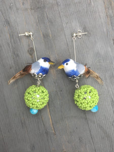 Blue Finch above a silver green globe, blue quartzite stone on silver stud earring.