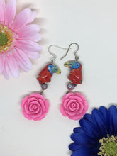 Load image into Gallery viewer, Red Rose earring - Ceramic Parrot on Freshwater Pearl above pink Rose earring.