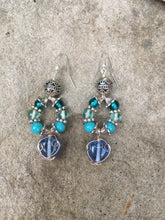 Load image into Gallery viewer, Blue wired Heart glass with turquoise blue howlite beads on silver loop earring
