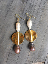 Load image into Gallery viewer, Large white and black pearl with  brass plate devider earring