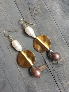 Large white and black pearl with  brass plate devider earring