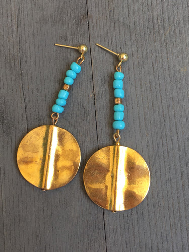Polished brass plate with one string of tiny turquoise jaspar beads earring
