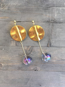 Gold brass disc with lightly blue tinted clear glass globe on fine silver chain earrings