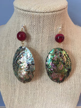 Load image into Gallery viewer, Large rose green Abalone Haliotis on red quartz bead on silver stud earrings