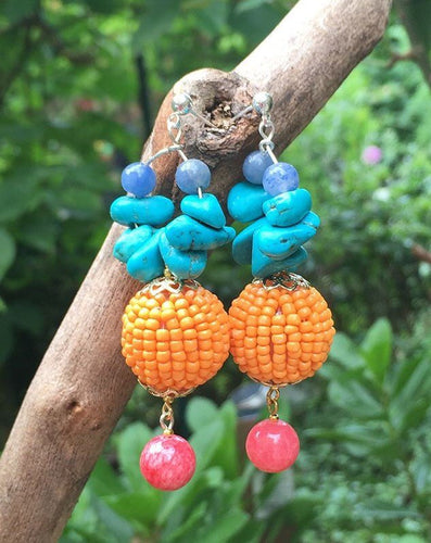 Red Agathe on orange bead, turquoise and blue jasper stones creole silver stud