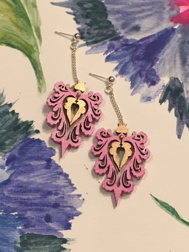 Pink Gold Wood ornament earring