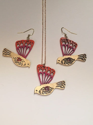 Pink Orange Gold enamel hand painted wood jewellery set
