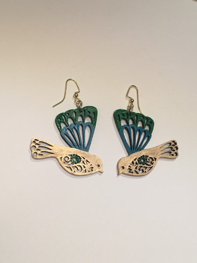 Gree Turquoise Gold enamel hand painted wood bird earrings