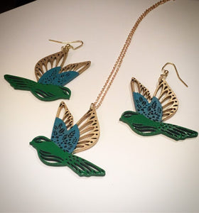 Green Gold Enamel handpainted wood jewellery set