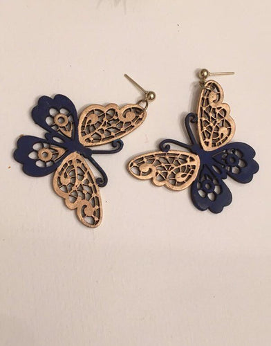 Blue Gold BF Wood Ornament Stud earrings