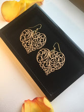 Load image into Gallery viewer, Handpainted Gold ornament Wood Heart earrings