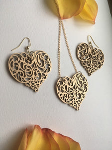 Handpainted Gold ornament Wood Heart earrings