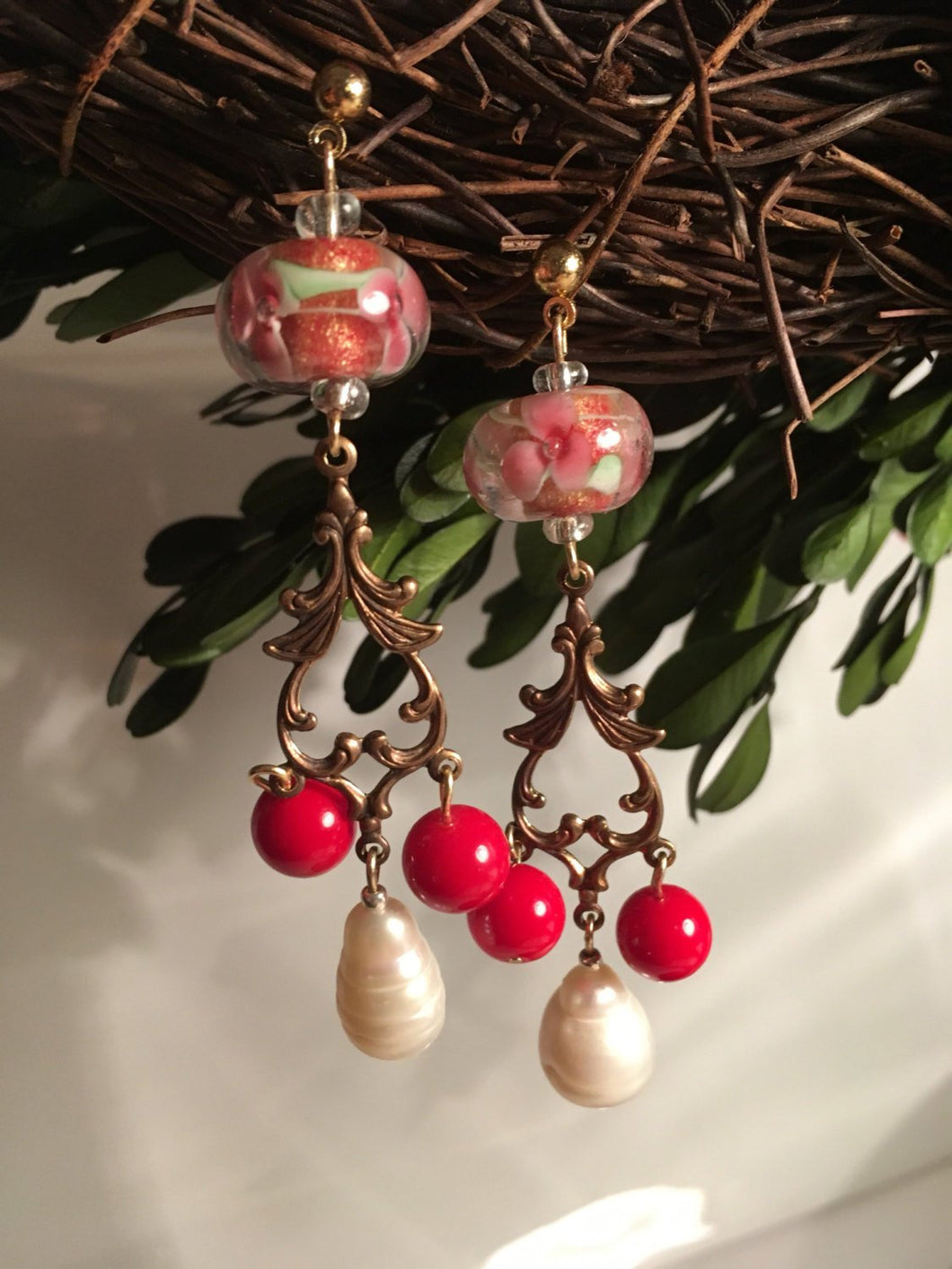 Red Berry vintage earrings