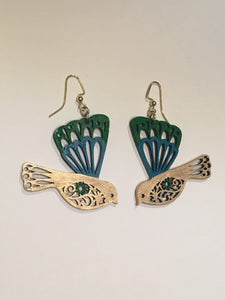 Gree Turquoise Gold enamel hand painted wood bird jewellery set