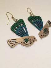 Load image into Gallery viewer, Gree Turquoise Gold enamel hand painted wood bird earrings