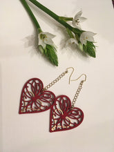 Load image into Gallery viewer, Blue Clay Paint and Gold hand painted Wood Hearts on drop and dangle threader earring