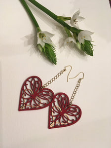 Red Gold Wood Hearts drop and dangle threader earring
