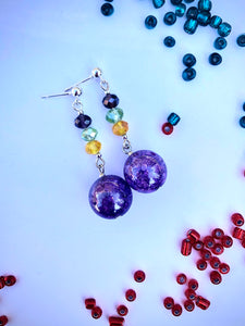 Purple crackled glass sphere and yellow, green, blue rose cut glass beads on silver stud earring
