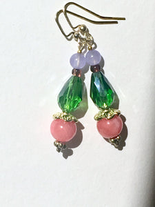 Rose pink quartzite bead on apple green teardrop cut glass bead and light purple quartzite on gold earring