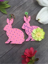 Load image into Gallery viewer, Hand painted wooden Pink Gardenfriend with green flower on vintage clip-on earring