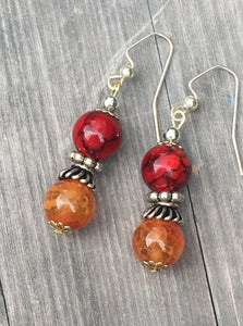 Charming amber and red quartzite with ornate silver waist coat on silver beaded earring