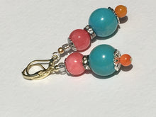 Load image into Gallery viewer, Turquoise with pink & amber quartzite stone earring Active
