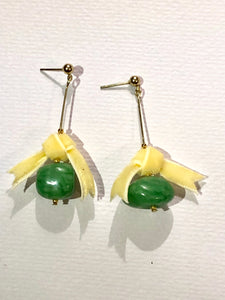 Yellow Bow Green Berry Earring