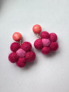Fuschia Felt Flower earrings