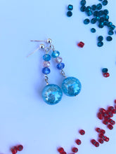 Load image into Gallery viewer, Aqua blue crackled glass sphere and blue, white, green rose cut glass beads on silver stud earring