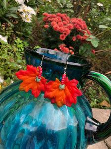 Fall leaves with turquoise blue Quartzite earring