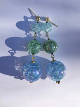 Load image into Gallery viewer, Aqua blue Sphere and green cracked glass beads on silver stud earring