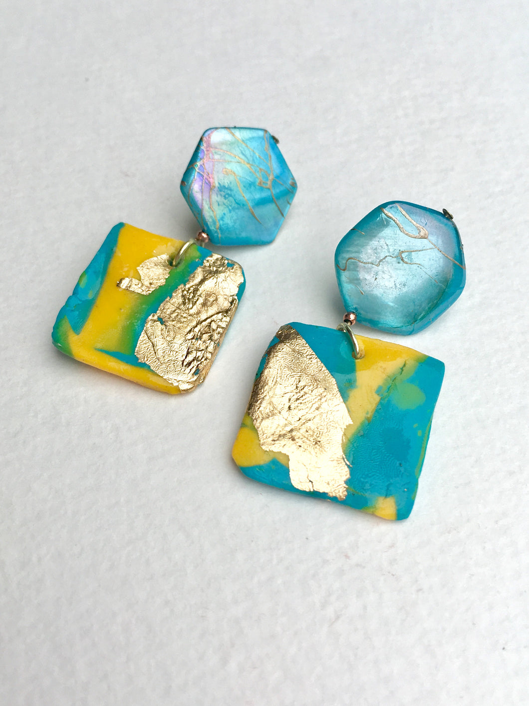 Multicolored Polymer Clay Square in Gold leaf